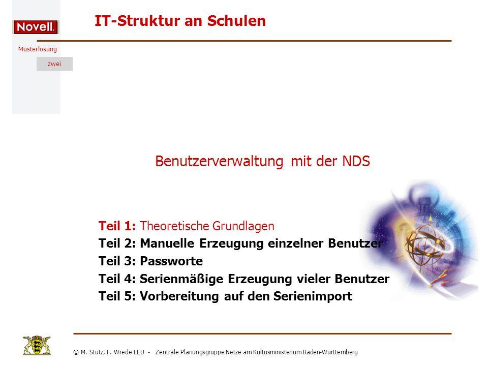 Musterlösung IT-Struktur an Schulen © M. Stütz, F. Wrede LEU - Zentrale Planungsgruppe Netze am Kultusministerium Baden-Württemberg zwei Benutzerverwa
