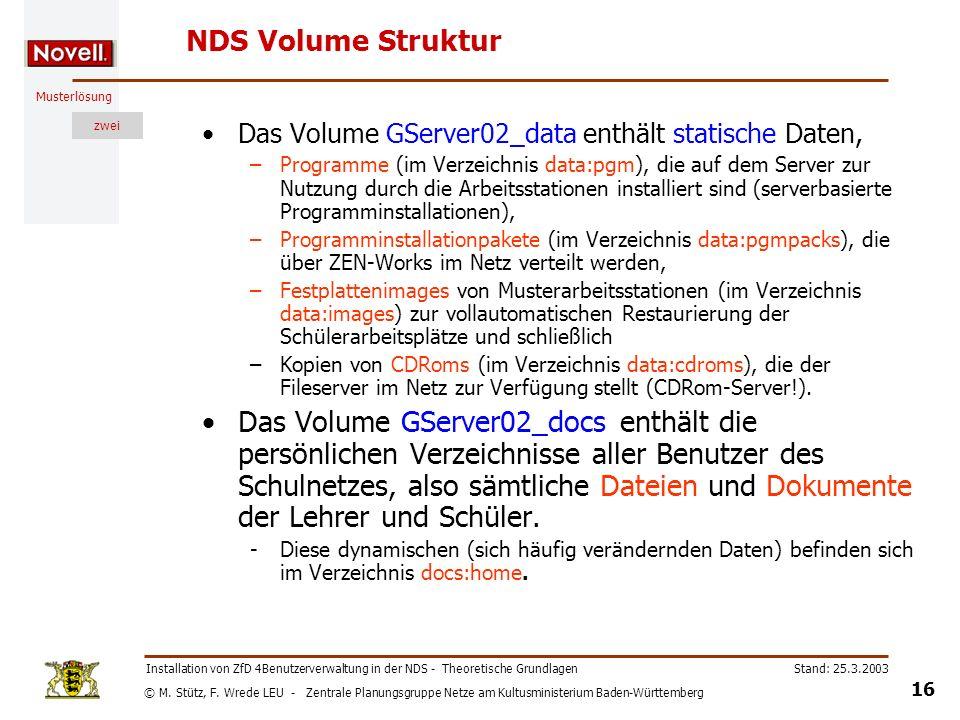 © M. Stütz, F. Wrede LEU - Zentrale Planungsgruppe Netze am Kultusministerium Baden-Württemberg Musterlösung zwei Stand: 25.3.2003 16 Installation von