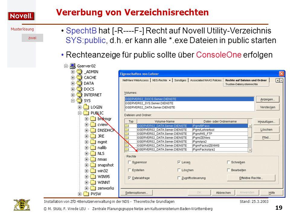 © M. Stütz, F. Wrede LEU - Zentrale Planungsgruppe Netze am Kultusministerium Baden-Württemberg Musterlösung zwei Stand: 25.3.2003 19 Installation von