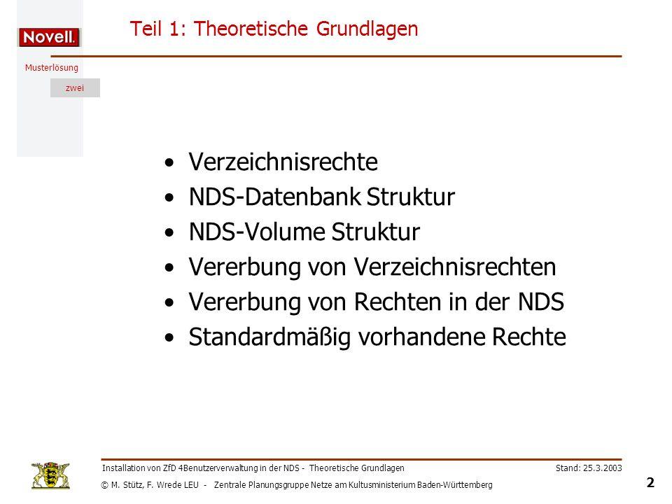 © M. Stütz, F. Wrede LEU - Zentrale Planungsgruppe Netze am Kultusministerium Baden-Württemberg Musterlösung zwei Stand: 25.3.2003 2 Installation von