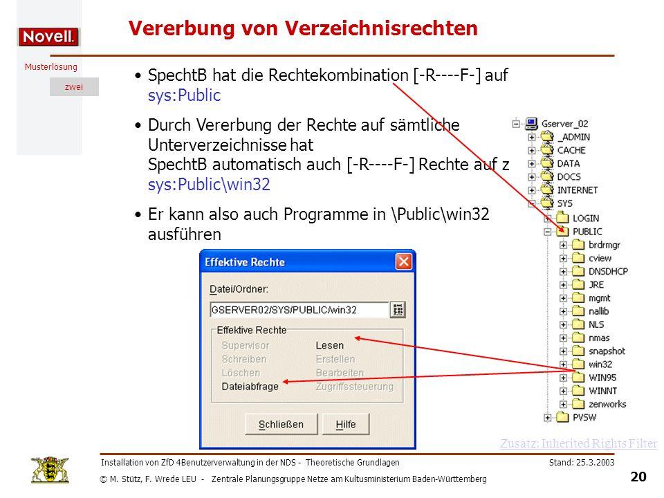 © M. Stütz, F. Wrede LEU - Zentrale Planungsgruppe Netze am Kultusministerium Baden-Württemberg Musterlösung zwei Stand: 25.3.2003 20 Installation von