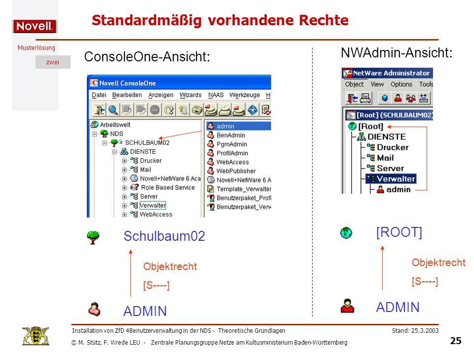 © M. Stütz, F. Wrede LEU - Zentrale Planungsgruppe Netze am Kultusministerium Baden-Württemberg Musterlösung zwei Stand: 25.3.2003 25 Installation von
