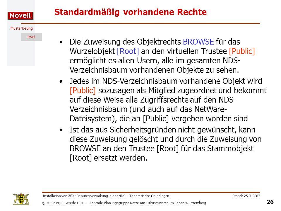 © M. Stütz, F. Wrede LEU - Zentrale Planungsgruppe Netze am Kultusministerium Baden-Württemberg Musterlösung zwei Stand: 25.3.2003 26 Installation von