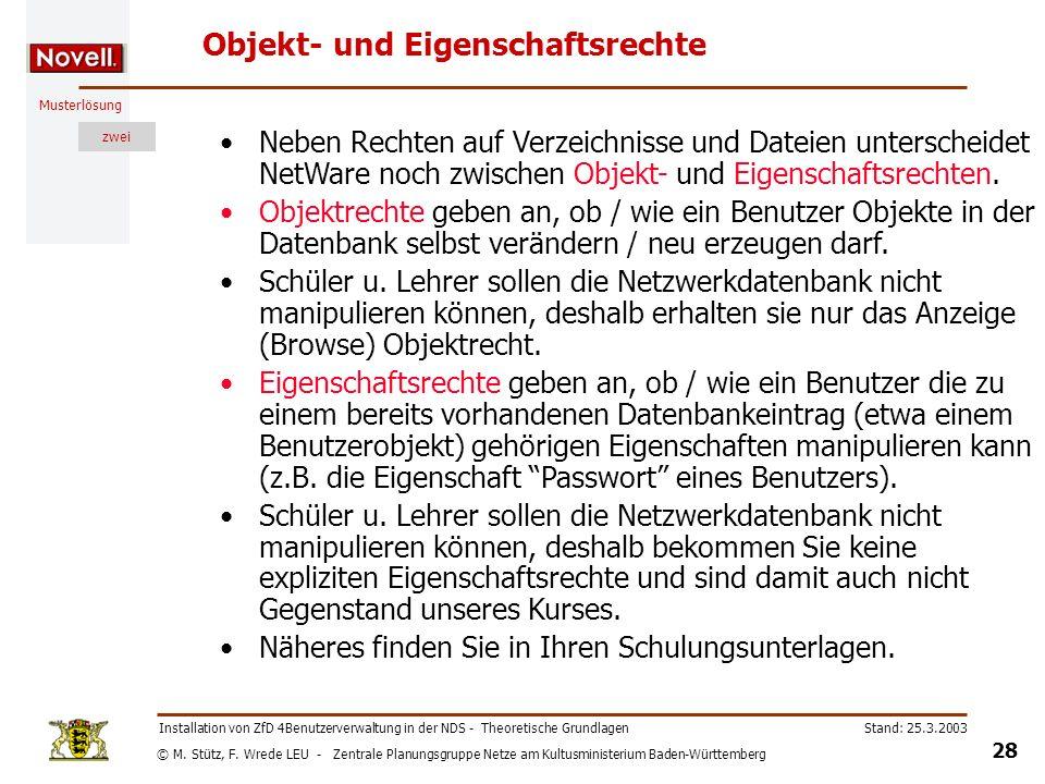 © M. Stütz, F. Wrede LEU - Zentrale Planungsgruppe Netze am Kultusministerium Baden-Württemberg Musterlösung zwei Stand: 25.3.2003 28 Installation von