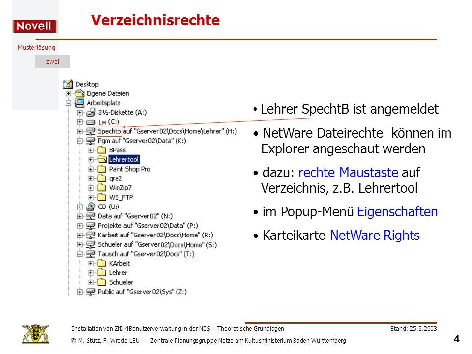 © M. Stütz, F. Wrede LEU - Zentrale Planungsgruppe Netze am Kultusministerium Baden-Württemberg Musterlösung zwei Stand: 25.3.2003 4 Installation von