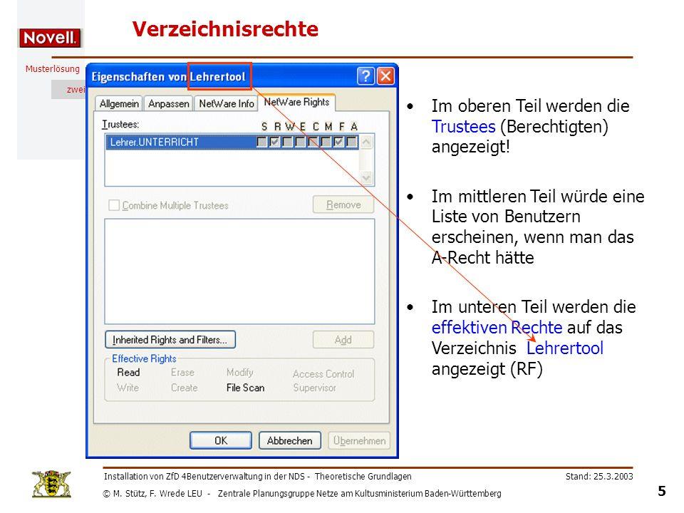 © M. Stütz, F. Wrede LEU - Zentrale Planungsgruppe Netze am Kultusministerium Baden-Württemberg Musterlösung zwei Stand: 25.3.2003 5 Installation von