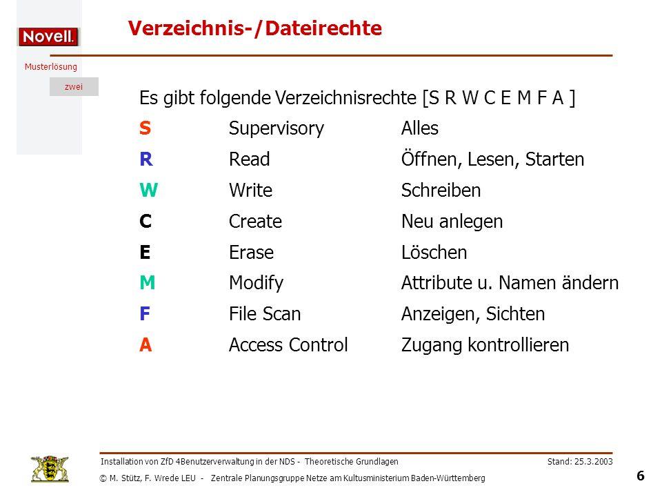 © M. Stütz, F. Wrede LEU - Zentrale Planungsgruppe Netze am Kultusministerium Baden-Württemberg Musterlösung zwei Stand: 25.3.2003 6 Installation von