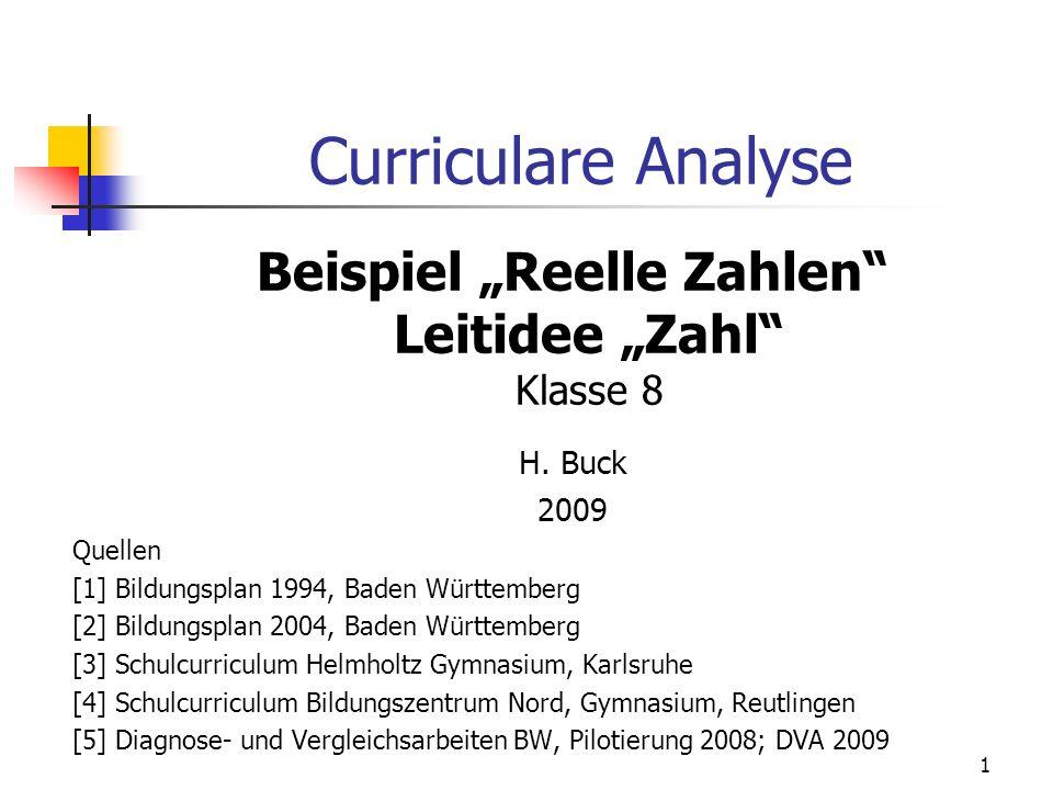 Curriculare Analyse Beispiel Reelle Zahlen Leitidee Zahl Klasse 8 H. Buck 2009 Quellen [1] Bildungsplan 1994, Baden Württemberg [2] Bildungsplan 2004,
