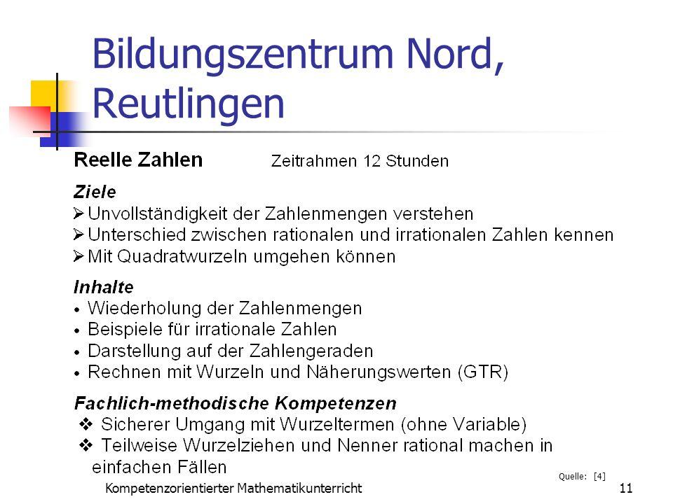 Bildungszentrum Nord, Reutlingen 11Kompetenzorientierter Mathematikunterricht Quelle: [4]