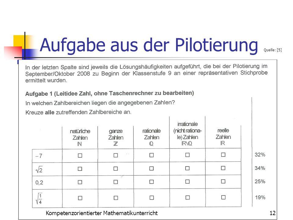 Aufgabe aus der Pilotierung Quelle: [5] 12Kompetenzorientierter Mathematikunterricht
