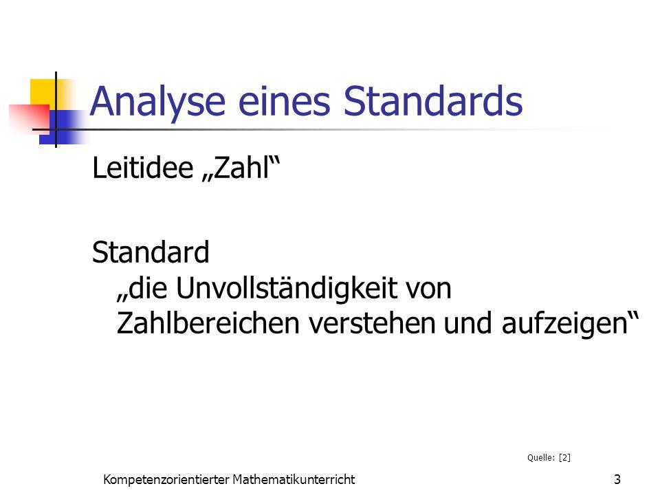 Analyse eines Standards Leitidee Zahl Standard die Unvollständigkeit von Zahlbereichen verstehen und aufzeigen 3Kompetenzorientierter Mathematikunterr