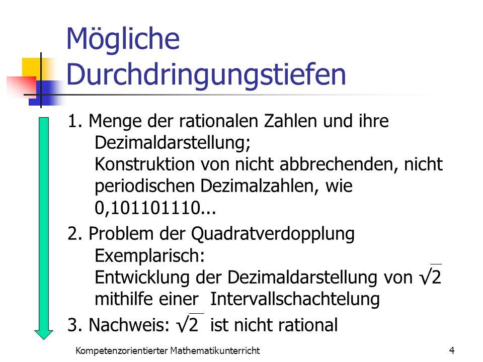 Mögliche Durchdringungstiefen 1. Menge der rationalen Zahlen und ihre Dezimaldarstellung; Konstruktion von nicht abbrechenden, nicht periodischen Dezi