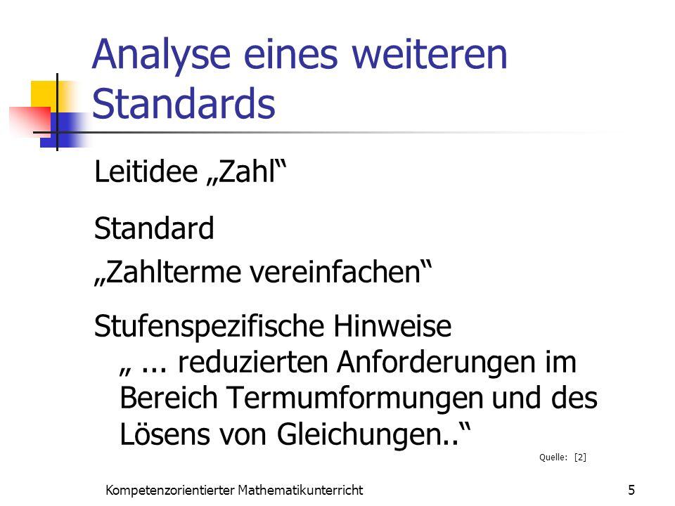 Analyse eines weiteren Standards Leitidee Zahl Standard Zahlterme vereinfachen Stufenspezifische Hinweise... reduzierten Anforderungen im Bereich Term