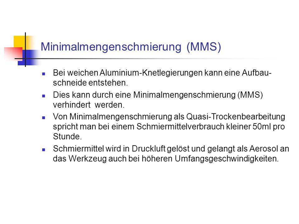 Minimalmengenschmierung (MMS) Bei weichen Aluminium-Knetlegierungen kann eine Aufbau- schneide entstehen. Dies kann durch eine Minimalmengenschmierung