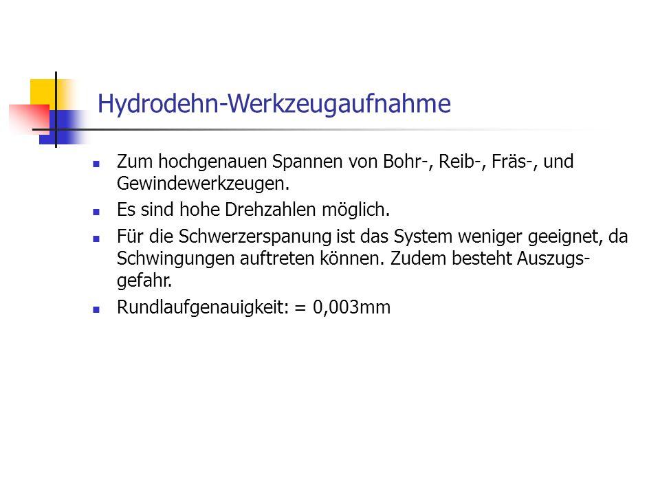 Hydrodehn-Werkzeugaufnahme Zum hochgenauen Spannen von Bohr-, Reib-, Fräs-, und Gewindewerkzeugen. Es sind hohe Drehzahlen möglich. Für die Schwerzers