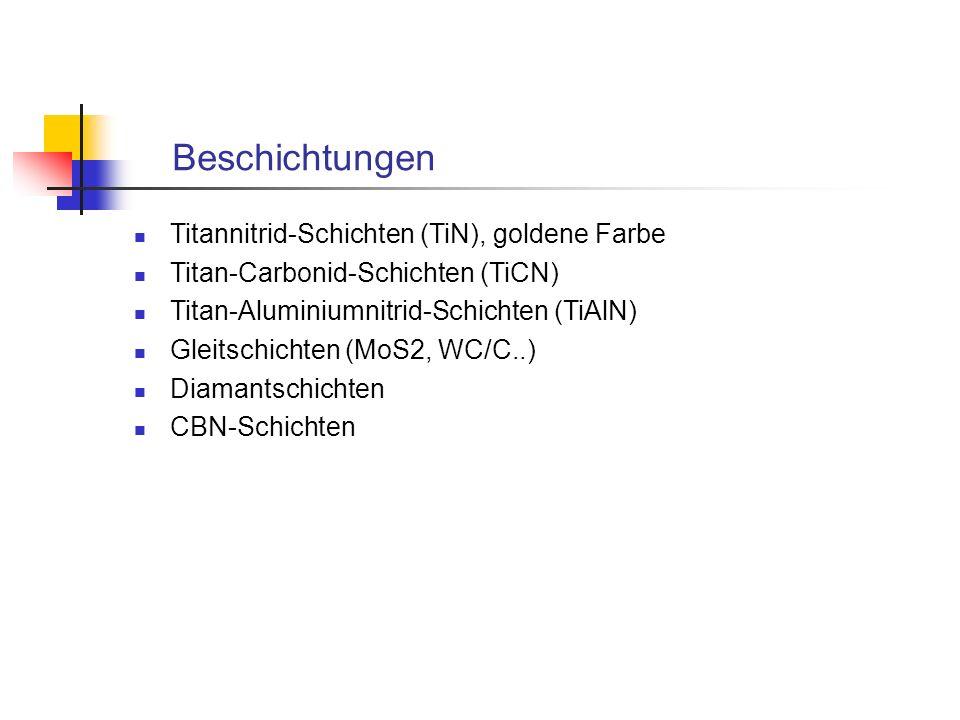 Beschichtungen Titannitrid-Schichten (TiN), goldene Farbe Titan-Carbonid-Schichten (TiCN) Titan-Aluminiumnitrid-Schichten (TiAlN) Gleitschichten (MoS2