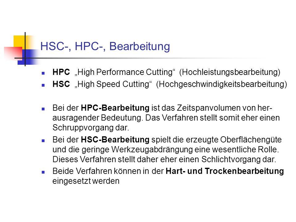 HSC-, HPC-, Bearbeitung HPC High Performance Cutting (Hochleistungsbearbeitung) HSC High Speed Cutting (Hochgeschwindigkeitsbearbeitung) Bei der HPC-B