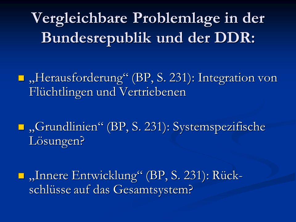 Vergleichbare Problemlage in der Bundesrepublik und der DDR: Herausforderung (BP, S. 231): Integration von Flüchtlingen und Vertriebenen Herausforderu