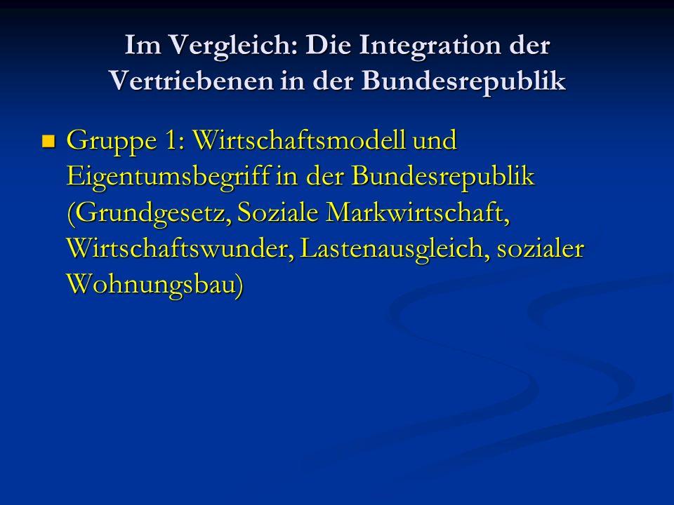 Im Vergleich: Die Integration der Vertriebenen in der Bundesrepublik Gruppe 1: Wirtschaftsmodell und Eigentumsbegriff in der Bundesrepublik (Grundgese
