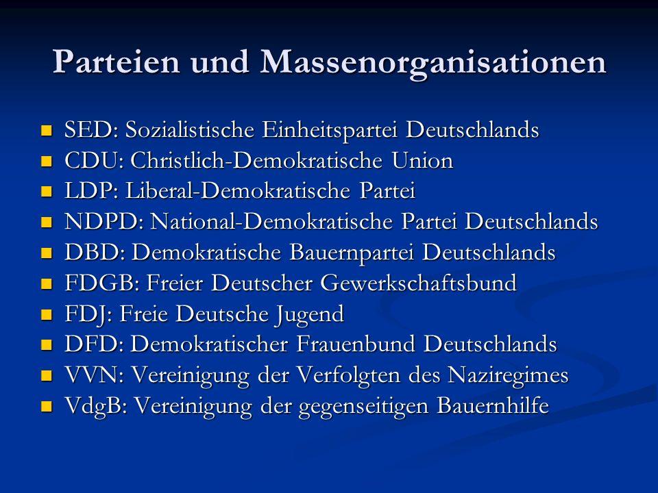 Parteien und Massenorganisationen SED: Sozialistische Einheitspartei Deutschlands SED: Sozialistische Einheitspartei Deutschlands CDU: Christlich-Demo