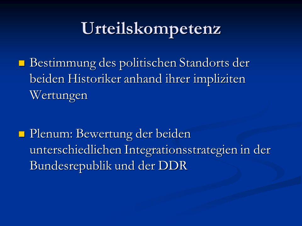 Urteilskompetenz Bestimmung des politischen Standorts der beiden Historiker anhand ihrer impliziten Wertungen Bestimmung des politischen Standorts der