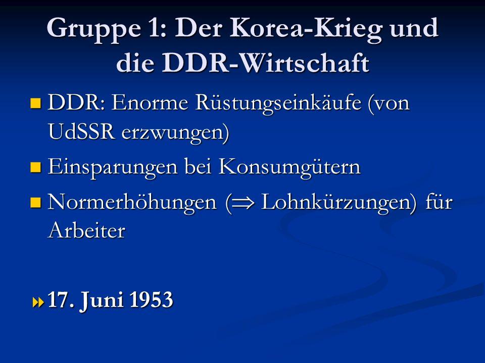 Gruppe 1: Der Korea-Krieg und die DDR-Wirtschaft DDR: Enorme Rüstungseinkäufe (von UdSSR erzwungen) DDR: Enorme Rüstungseinkäufe (von UdSSR erzwungen)