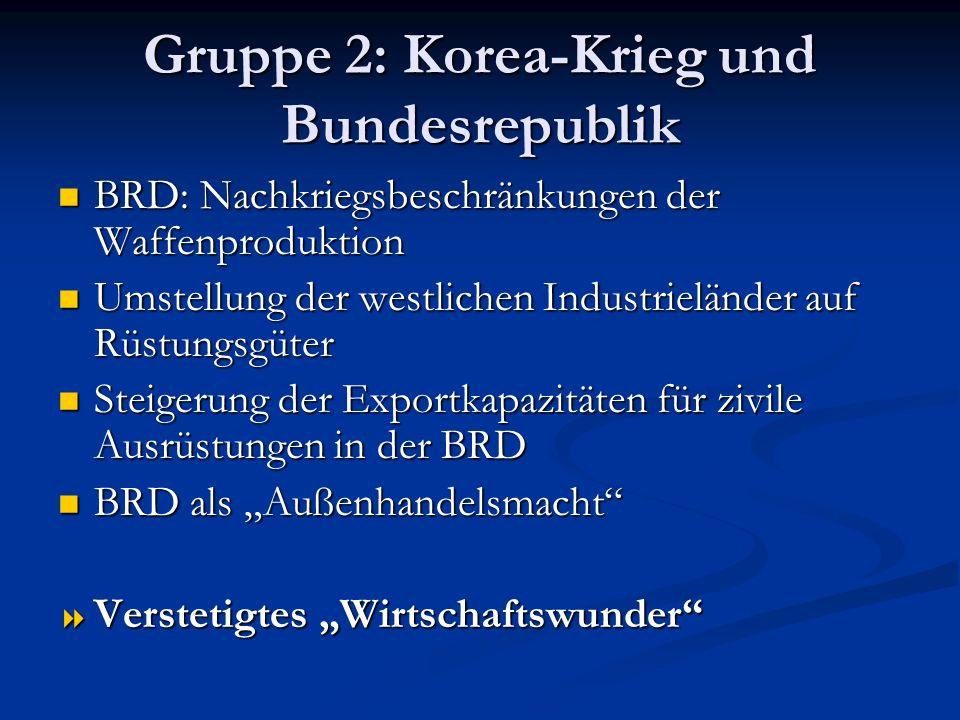 Gruppe 2: Korea-Krieg und Bundesrepublik BRD: Nachkriegsbeschränkungen der Waffenproduktion BRD: Nachkriegsbeschränkungen der Waffenproduktion Umstell