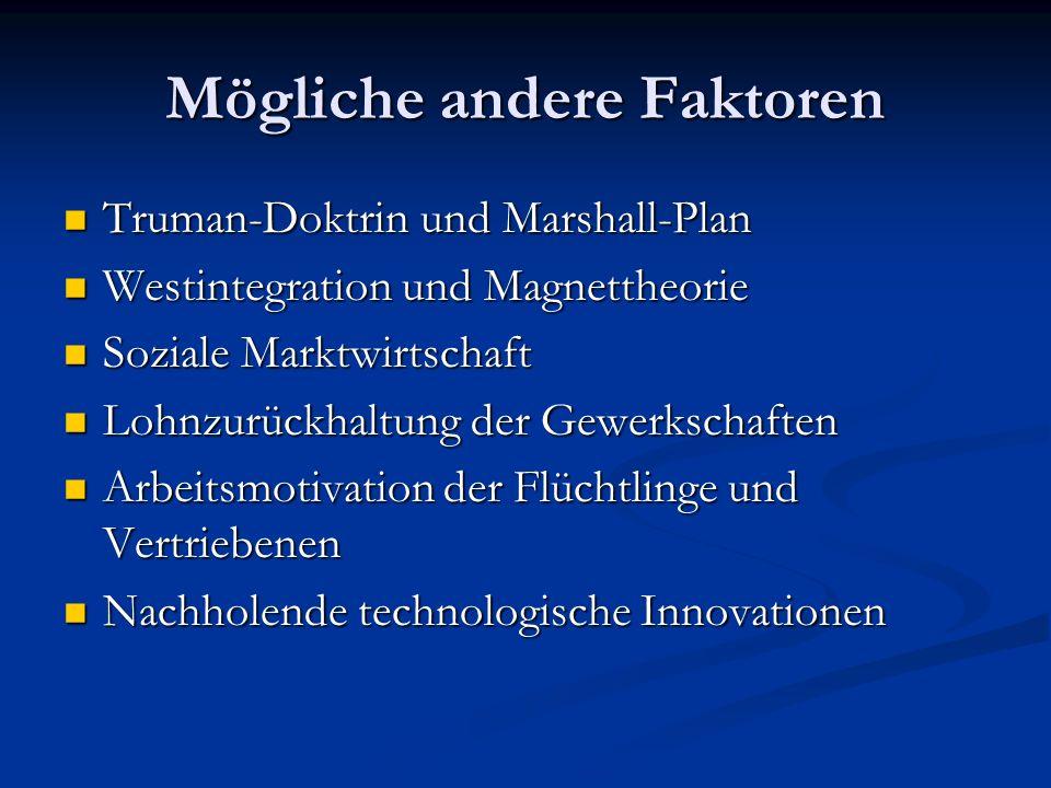 Mögliche andere Faktoren Truman-Doktrin und Marshall-Plan Truman-Doktrin und Marshall-Plan Westintegration und Magnettheorie Westintegration und Magne