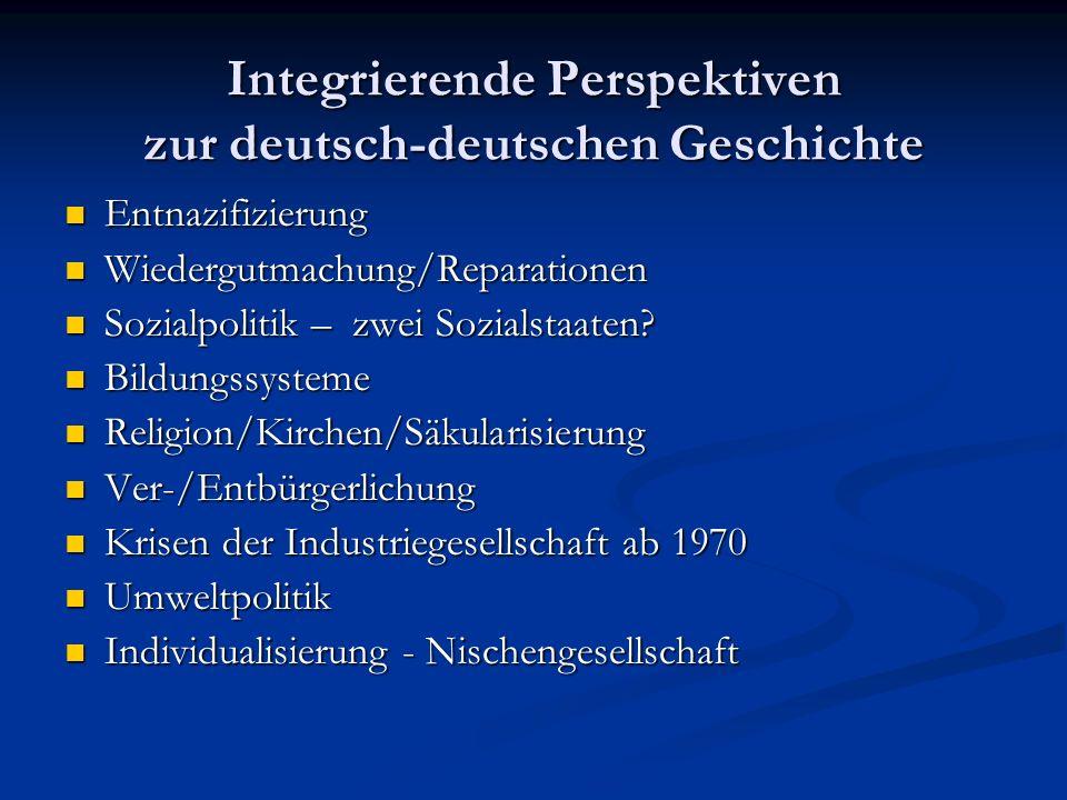 Integrierende Perspektiven zur deutsch-deutschen Geschichte Entnazifizierung Entnazifizierung Wiedergutmachung/Reparationen Wiedergutmachung/Reparatio