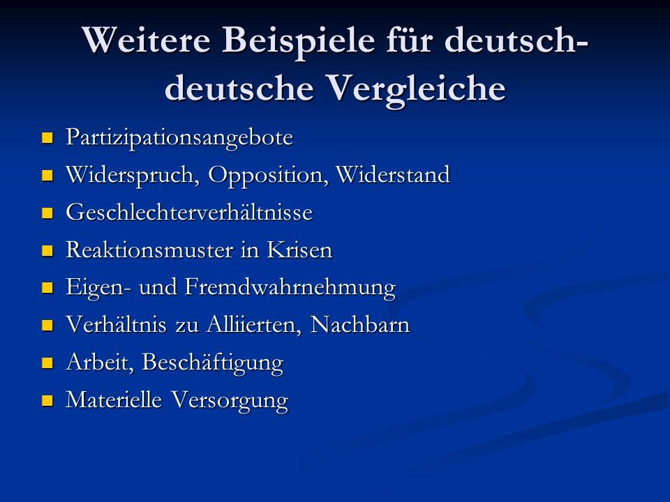 Weitere Beispiele für deutsch- deutsche Vergleiche Partizipationsangebote Partizipationsangebote Widerspruch, Opposition, Widerstand Widerspruch, Oppo