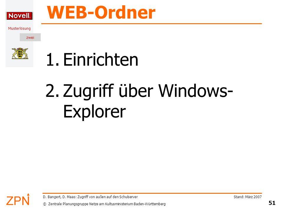 © Zentrale Planungsgruppe Netze am Kultusministerium Baden-Württemberg Musterlösung Stand: März 2007 51 D. Bangert, D. Maas: Zugriff von außen auf den
