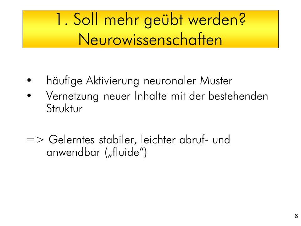 6 1. Soll mehr geübt werden? Neurowissenschaften häufige Aktivierung neuronaler Muster Vernetzung neuer Inhalte mit der bestehenden Struktur => Gelern