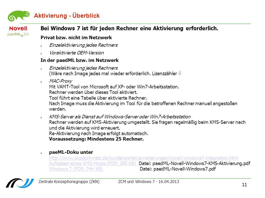 Zentrale Konzeptionsgruppe (ZKN) ZCM und Windows 7 - 16.04.2013 11 Aktivierung - Überblick Bei Windows 7 ist für jeden Rechner eine Aktivierung erford