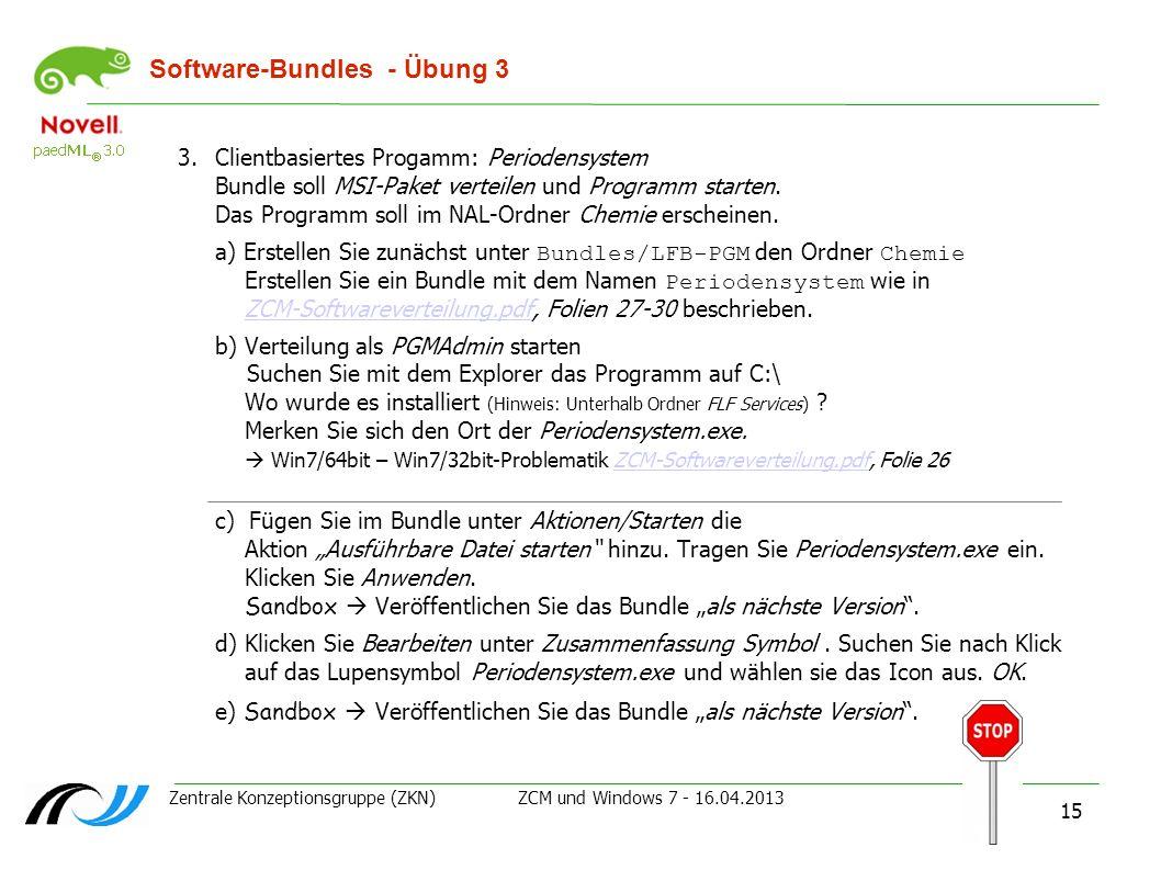 Zentrale Konzeptionsgruppe (ZKN) ZCM und Windows 7 - 16.04.2013 15 Software-Bundles - Übung 3 3.Clientbasiertes Progamm: Periodensystem Bundle soll MS