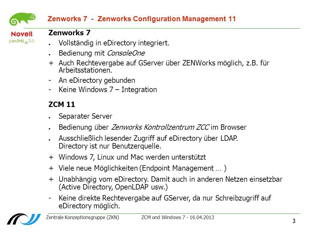 Zentrale Konzeptionsgruppe (ZKN) ZCM und Windows 7 - 16.04.2013 3 Zenworks 7 - Zenworks Configuration Management 11 Zenworks 7 Vollständig in eDirecto