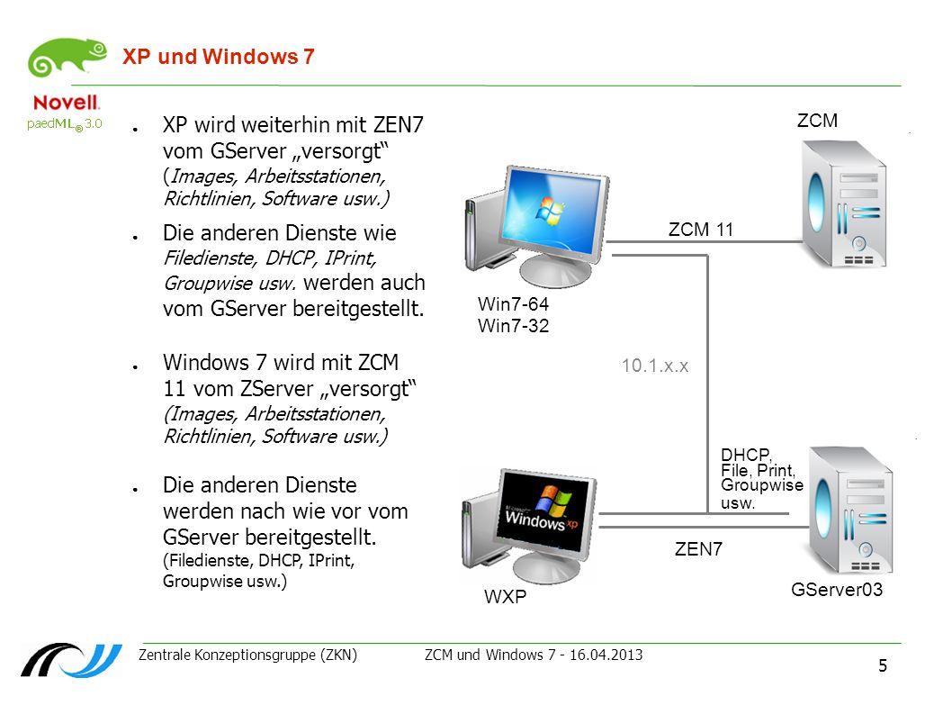 Zentrale Konzeptionsgruppe (ZKN) ZCM und Windows 7 - 16.04.2013 5 XP und Windows 7 XP wird weiterhin mit ZEN7 vom GServer versorgt (Images, Arbeitssta
