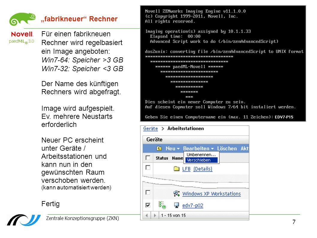 Zentrale Konzeptionsgruppe (ZKN) ZCM und Windows 7 - 16.04.2013 7 fabrikneuer Rechner Für einen fabrikneuen Rechner wird regelbasiert ein Image angebo