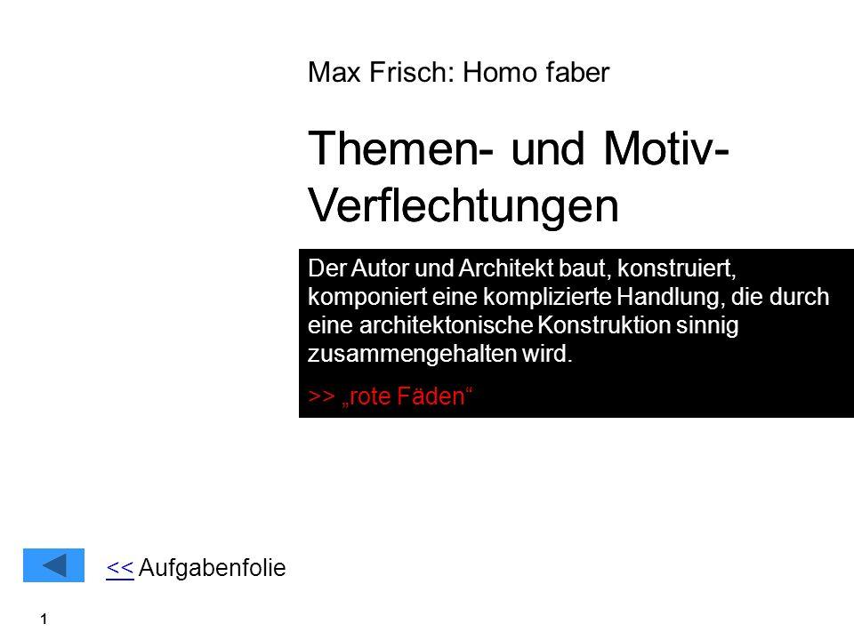 1 Max Frisch: Homo faber Themen- und Motiv- Verflechtungen Der Autor und Architekt baut, konstruiert, komponiert eine komplizierte Handlung, die durch