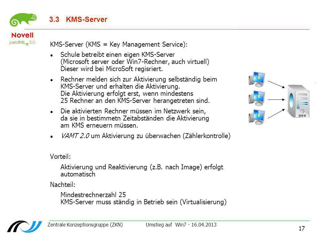 Zentrale Konzeptionsgruppe (ZKN) Umstieg auf Win7 - 16.04.2013 17 3.3 KMS-Server KMS-Server (KMS = Key Management Service): Schule betreibt einen eige