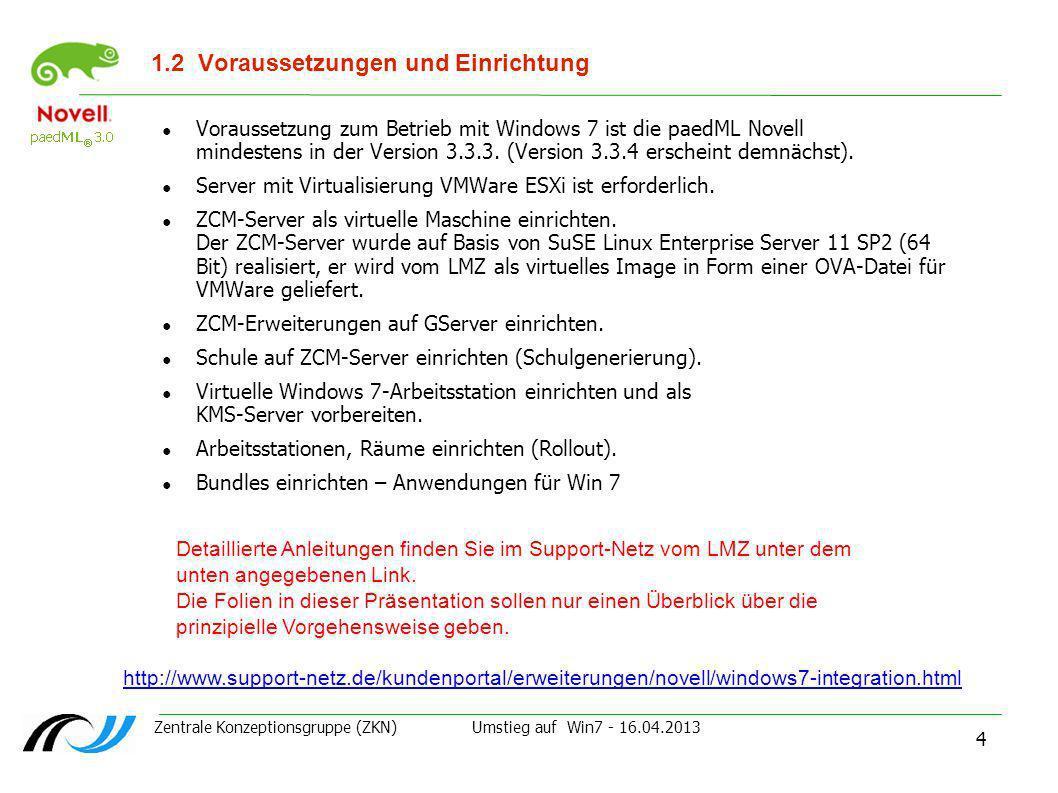 Zentrale Konzeptionsgruppe (ZKN) Umstieg auf Win7 - 16.04.2013 5 1.3Vergleich Zen 7 - ZCM 11 Zenworks 7 Separates Produkt von Novell – im Schulpaket enthalten.