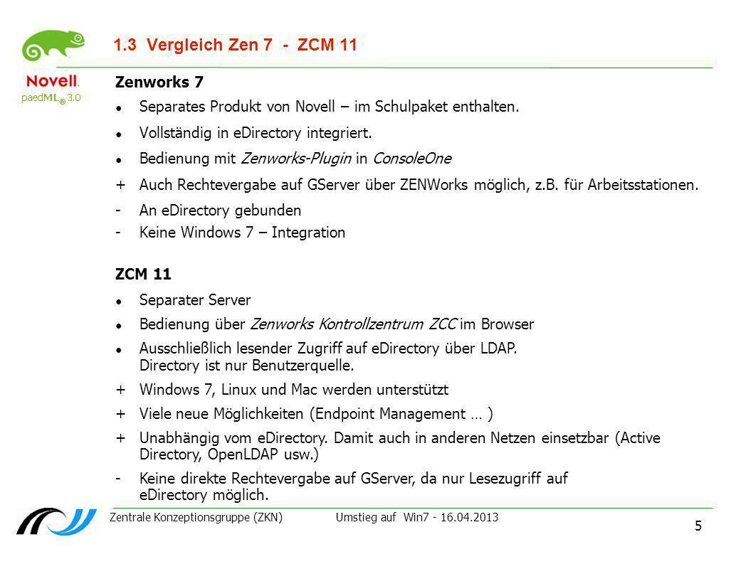 Zentrale Konzeptionsgruppe (ZKN) Umstieg auf Win7 - 16.04.2013 5 1.3Vergleich Zen 7 - ZCM 11 Zenworks 7 Separates Produkt von Novell – im Schulpaket e