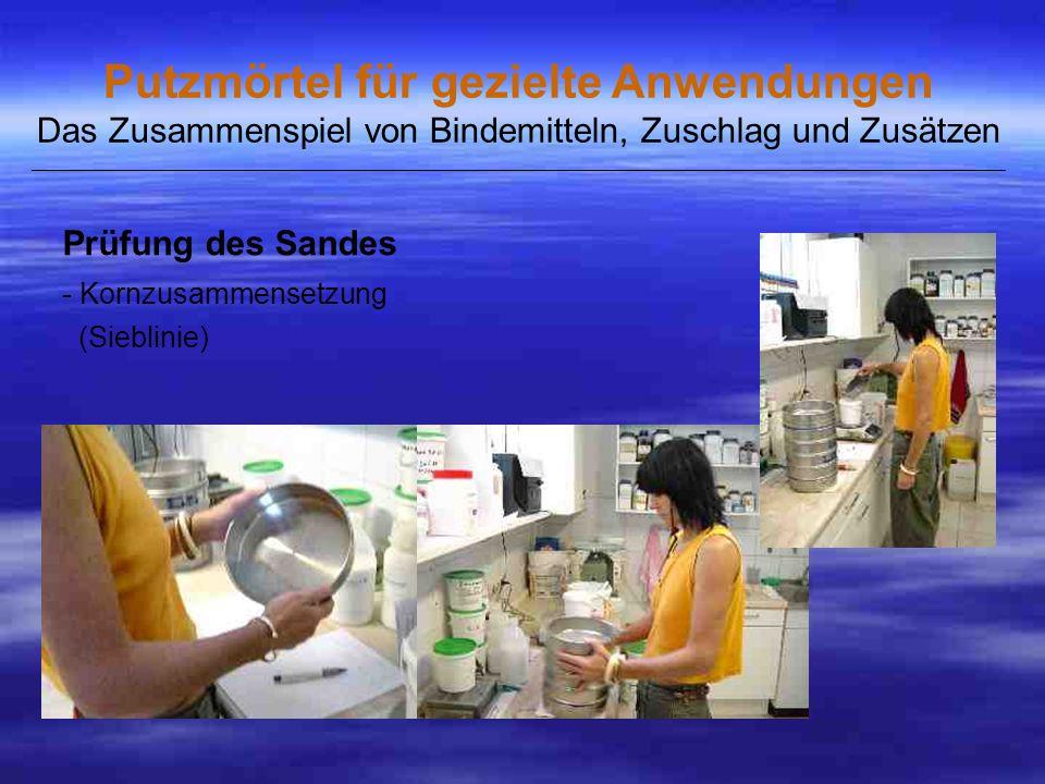Prüfung des Sandes - Kornzusammensetzung (Sieblinie)