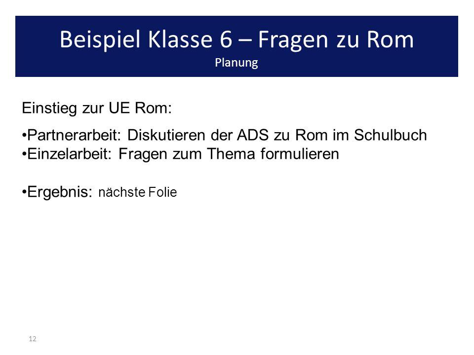 12 Einstieg zur UE Rom: Partnerarbeit: Diskutieren der ADS zu Rom im Schulbuch Einzelarbeit: Fragen zum Thema formulieren Ergebnis: nächste Folie Beis