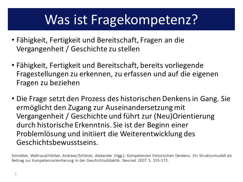 Was ist Fragekompetenz? Fähigkeit, Fertigkeit und Bereitschaft, Fragen an die Vergangenheit / Geschichte zu stellen Fähigkeit, Fertigkeit und Bereitsc