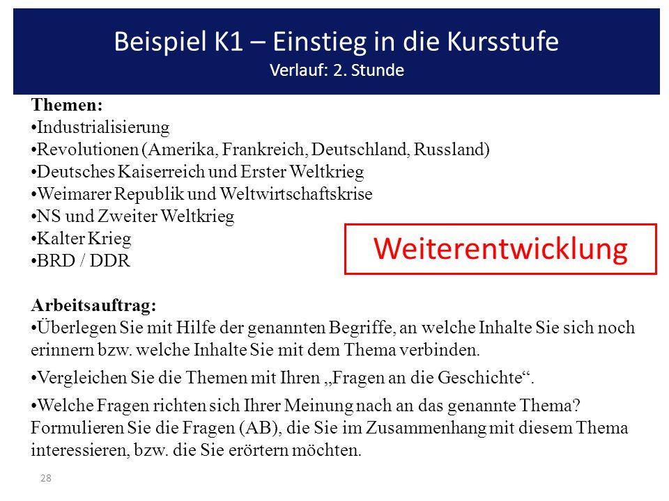 28 Themen: Industrialisierung Revolutionen (Amerika, Frankreich, Deutschland, Russland) Deutsches Kaiserreich und Erster Weltkrieg Weimarer Republik u