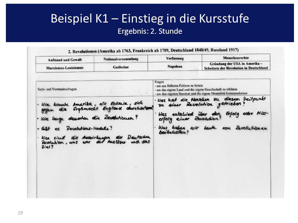 29 Beispiel K1 – Einstieg in die Kursstufe Ergebnis: 2. Stunde