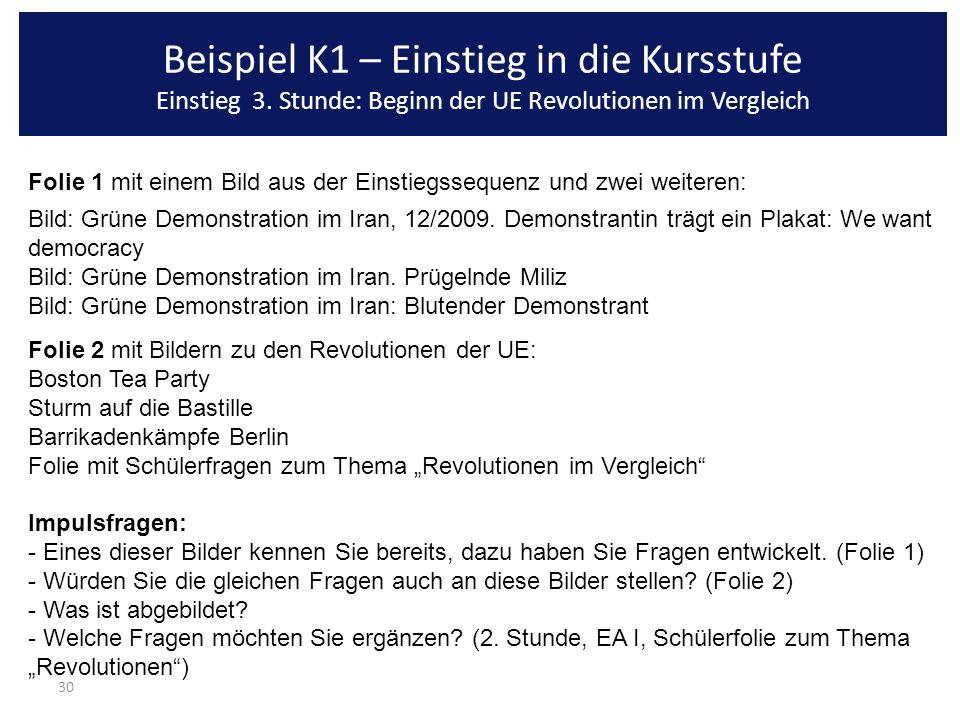 30 Beispiel K1 – Einstieg in die Kursstufe Einstieg 3. Stunde: Beginn der UE Revolutionen im Vergleich Folie 1 mit einem Bild aus der Einstiegssequenz