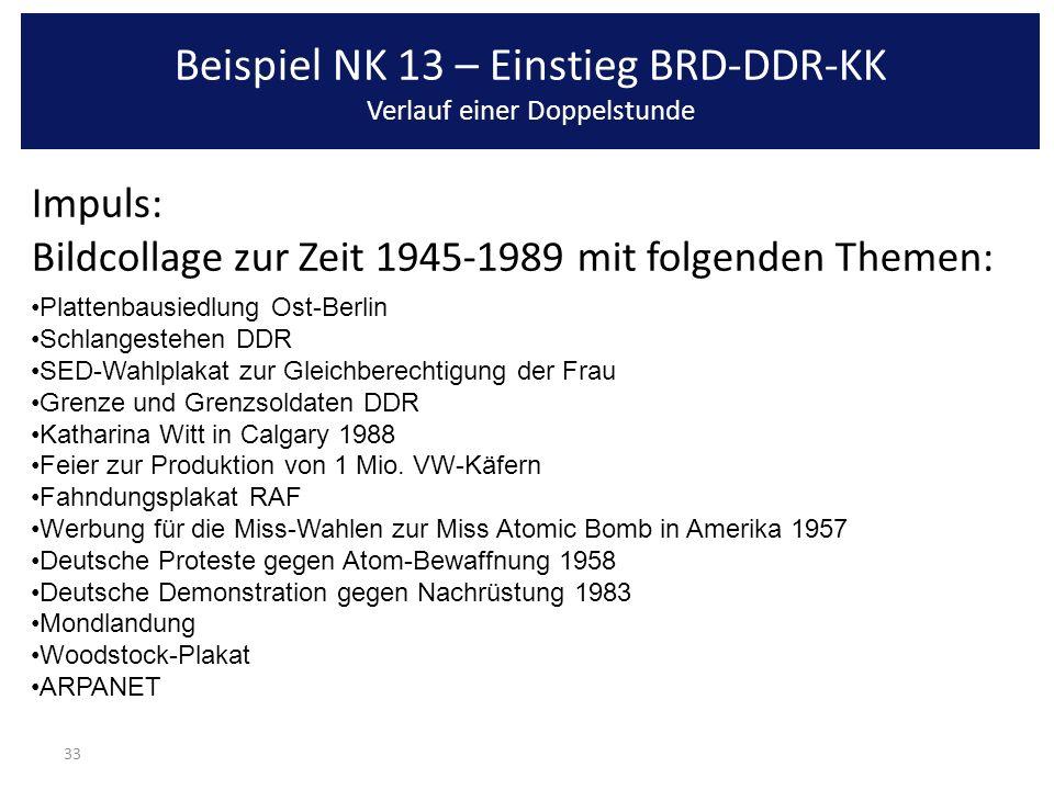 33 Impuls: Bildcollage zur Zeit 1945-1989 mit folgenden Themen: Plattenbausiedlung Ost-Berlin Schlangestehen DDR SED-Wahlplakat zur Gleichberechtigung