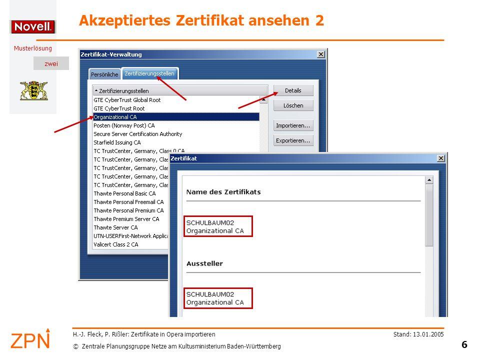 © Zentrale Planungsgruppe Netze am Kultusministerium Baden-Württemberg Musterlösung Stand: 13.01.2005 6 H.-J.