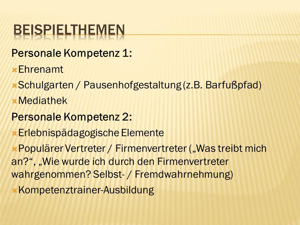 Personale Kompetenz 1: Ehrenamt Schulgarten / Pausenhofgestaltung (z.B. Barfußpfad) Mediathek Personale Kompetenz 2: Erlebnispädagogische Elemente Pop